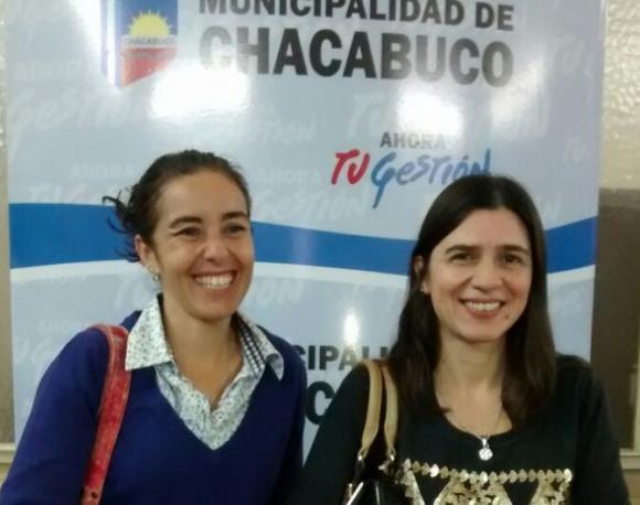 Conferencia de prensa de las funcionarias, Carolina Marino y Milagros Marveggio