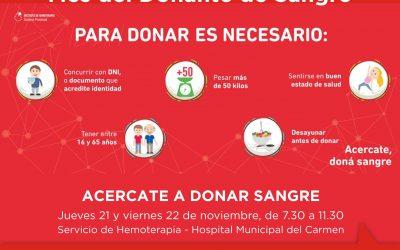 Donación de sangre: se realizará una colecta en el Hospital