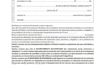 FORMULARIO DE EXCEPCIONES DECRETO 297/2020