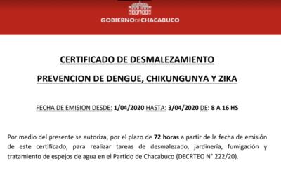 Atención: certificado de desmalezamiento