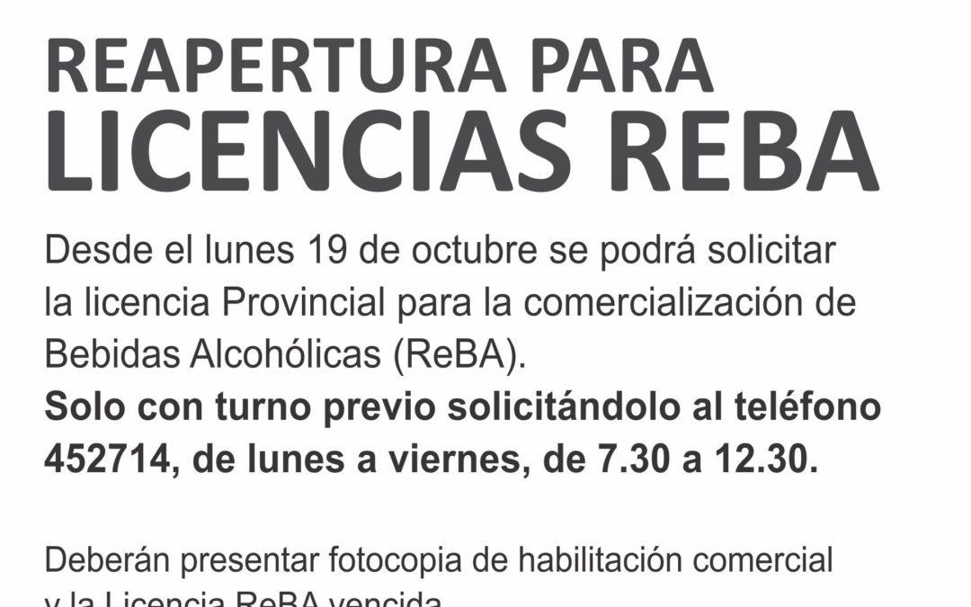Habilitaciones: reapertura para licencias ReBA