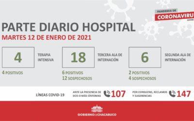 Coronavirus: Hospital Municipal, parte diario 12/01