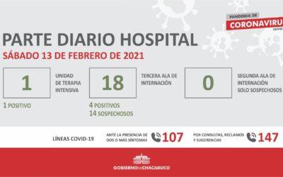 Coronavirus: Hospital Municipal, parte diario 13/2