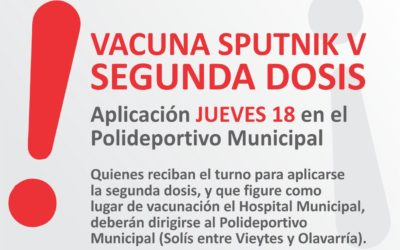 Sputnik V: Segunda dosis en el Polideportivo Municipal