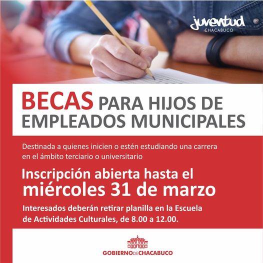 Beca para hijos de empleados municipales: se extendió la inscripción