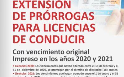 Extensión de Prórrogas para Licencias con vencimiento original impreso en los años 2020 y 2021