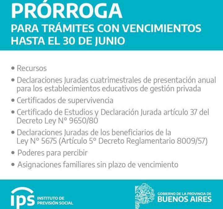IPS: Trámites con vencimiento hasta el 30 de junio