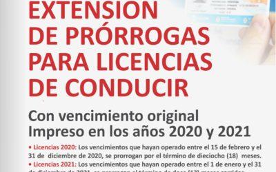 Licencias de Conducir: prórrogas 2020 y 2021