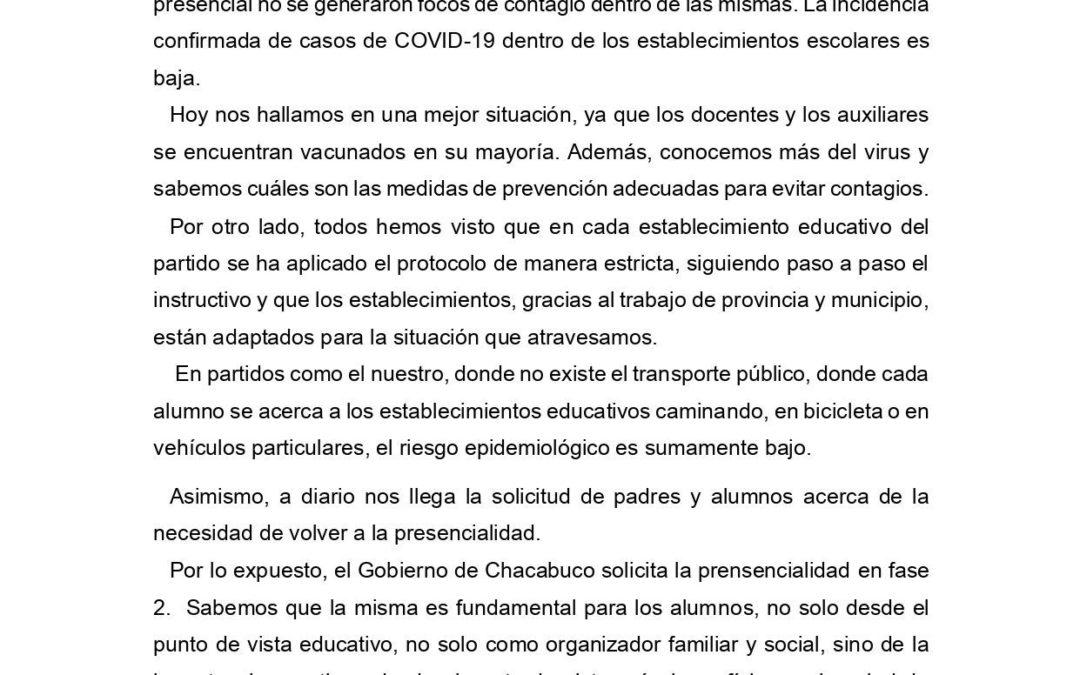Presencialidad: Solicitud del intendente de Chacabuco a las autoridades provinciales