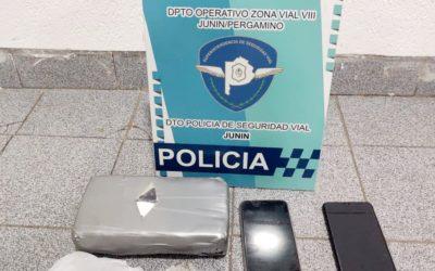 Policía Vial: Secuestro de más de 1 kilo de cocaína de máxima pureza